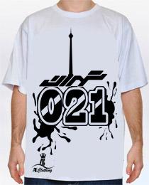 تی شرت بگ با طرح تهران 021 [سفید]