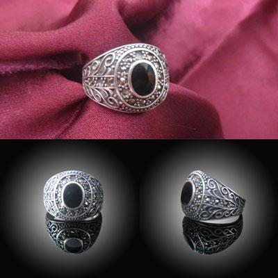 انگشتر نقره تایلندی با نگین عقیق سیاه , عیار نقره 925