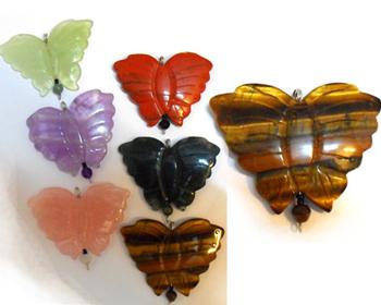 گردنبند سنگ طبیعی چشم ببر پروانه