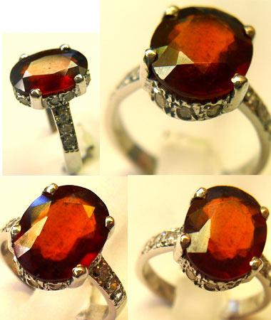 انگشتر نقره و سنگ معدنی گارنت قرمز