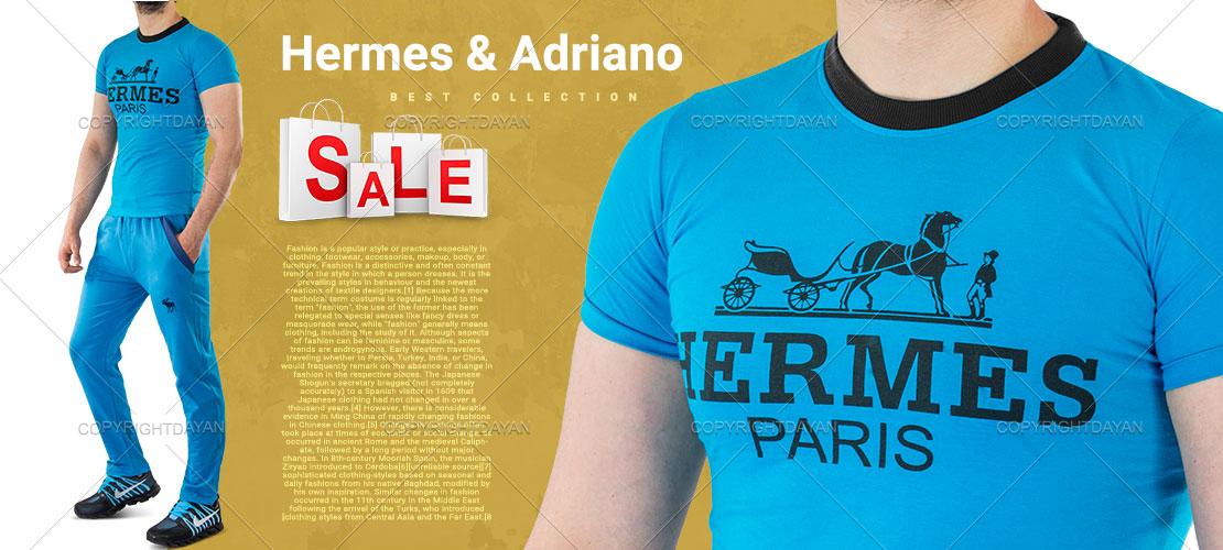 ست تیشرت Hermes(آبی) و شلوار Adriano(آبی)