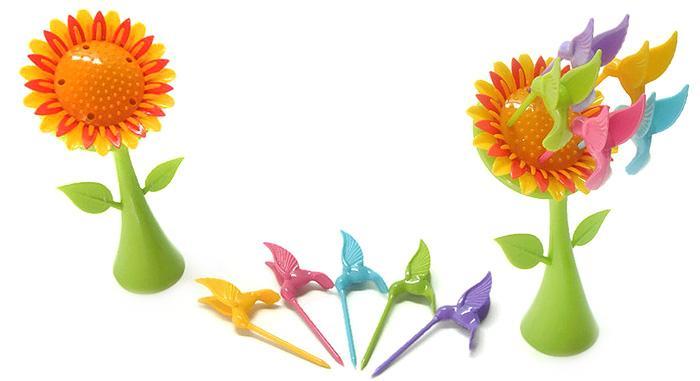چنگال میوه خوری پرنده های زرین گل افتاب گردان