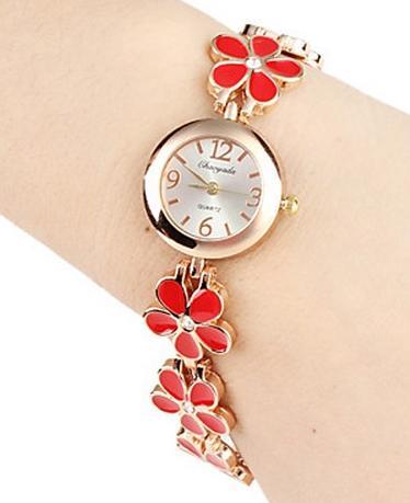 ساعت زنانه شیک طرح گرد مدل گل
