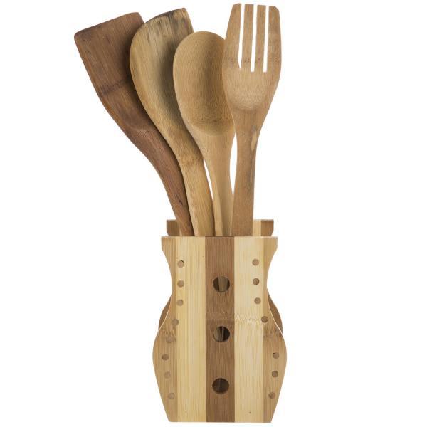 ست 5 پارچه قاشق های چوبی آشپزی