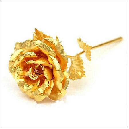شاخه گل رز طلای